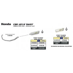 TUBO ESCAPE HONDA CBR 125 R 04 05 06 07 08 09 10 ARROW LINEA COMPLETA